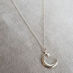 Sterling silver crescent moon and star necklace